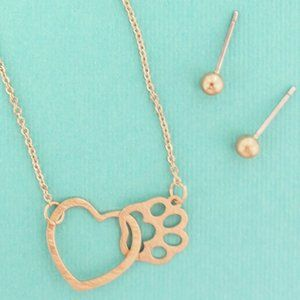 Worn Goldtone Heart with Paw Print Necklace